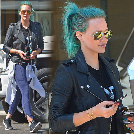 Hilary Duff Shopping con il nuovo look blu sirena